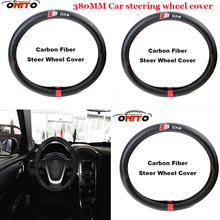 Top 380MM for Sline logo Car Steer Wheel Cover Carbon Fiber&Leather steering fit A1/A2/A3/A4/A5/A6/A7/A8/Q1/Q3/Q5/TT/R8/S/RS