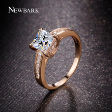 NEWBARK Classic 4 Prongs Rings Paved White Square Cubic Zirconia Engagement Rings For Women Wedding Jewelry (China)