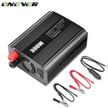 Onever Car Power Converter  Inverter DC 12V to AC 110V 300W 2 USB Dual 2 AC Outlets Modified Sine Wave Power Inverter US Plug