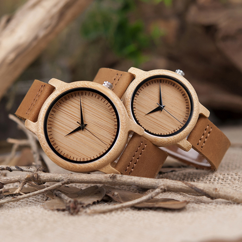 BOBO BIRD Lover Round Bamboo Wooden Wristwatch Japan Movement 35 Quartz Watch for Couple Men 43mm Dial Women 38mm Dial 6