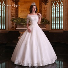 Buy Luxury Lace Wedding Dresses 2018 Elegant Boat Neck Beading Half Sleeve Ball Gowns Bridal Dresses robe de mariage for $320.00 in AliExpress store