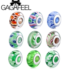 GAGAFEEL Hot Sale 100% 925 Sterling Silver Flower Murano Glass Beads Fit Pandora Bracelet Bangles Original European DIY Jewelry