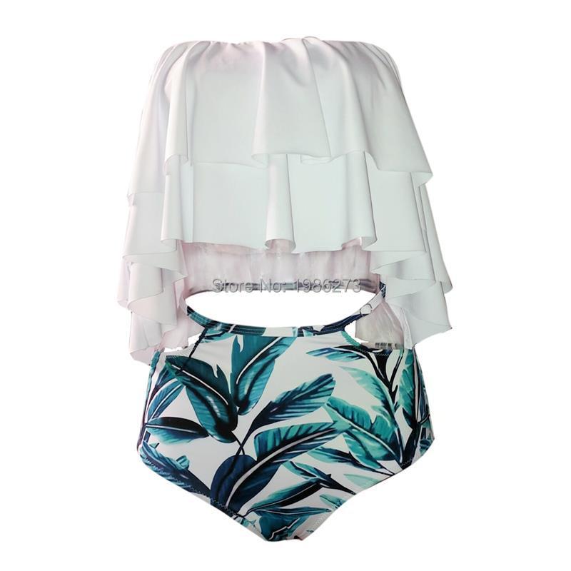 Bikini set 17 Doubledeck flouncing Swimsuit Push Up Bathing Suit sexy Women High Waist Swimwear Off Shoulder Swimming Suits 9