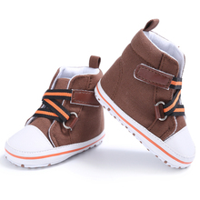 High Top Handsome Brand New Casual Baby Boys Solid Sneakers Crib Bebe Soft Soled First Walkers Shoes Fashion Sports Spring(China)