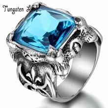 Vintage Style Gothic Stainless Steel Cubic Zirconia Antique Rings Dragon Claw Biker Men Cocktail Ring Blue Color Stone