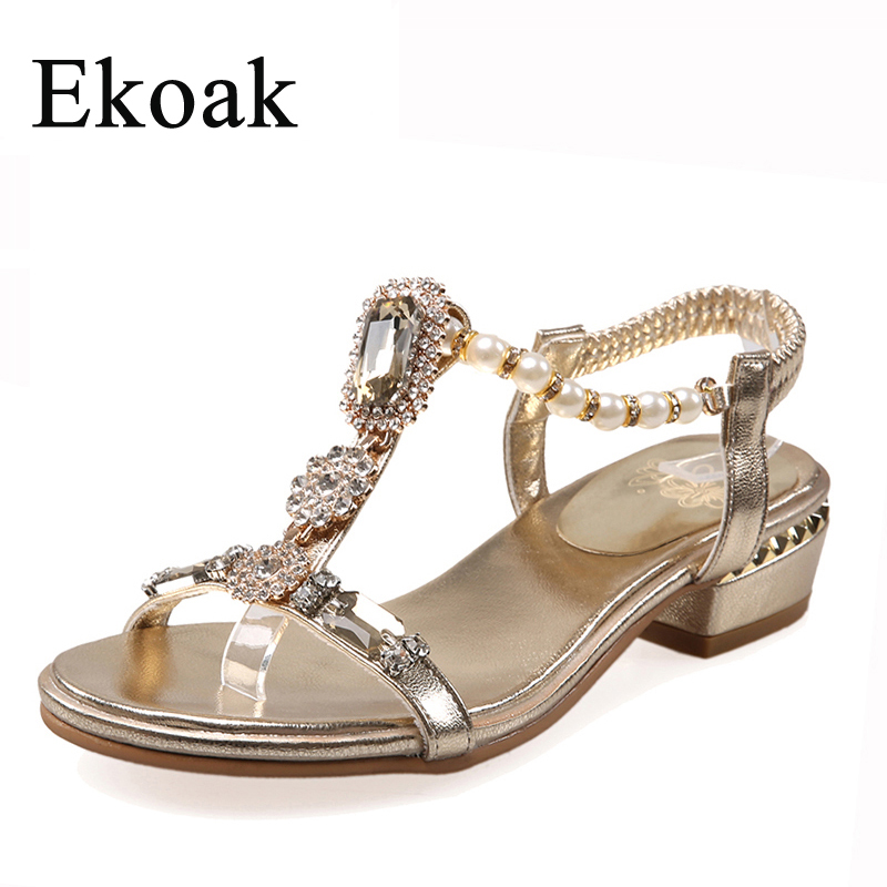 Ekoak New 2017 Fashion Women Sandals Summer Party Dress Shoes Ladies Sexy Rhinestone Medium Heels Shoes Woman Beach Shoes L45<br><br>Aliexpress