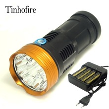 Tinhofire 20000 lumens light King 10T6 LED flashlamp 10 x CREE XM-L T6 LED Flashlight Torch Lamp Light with 4 battery charger