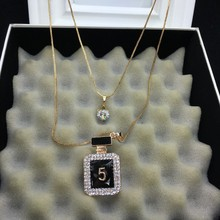 XL77 Perfume bottles jewelry number 5 famous brand neckless long sautoir collier femme necklace collares women accessories(China)