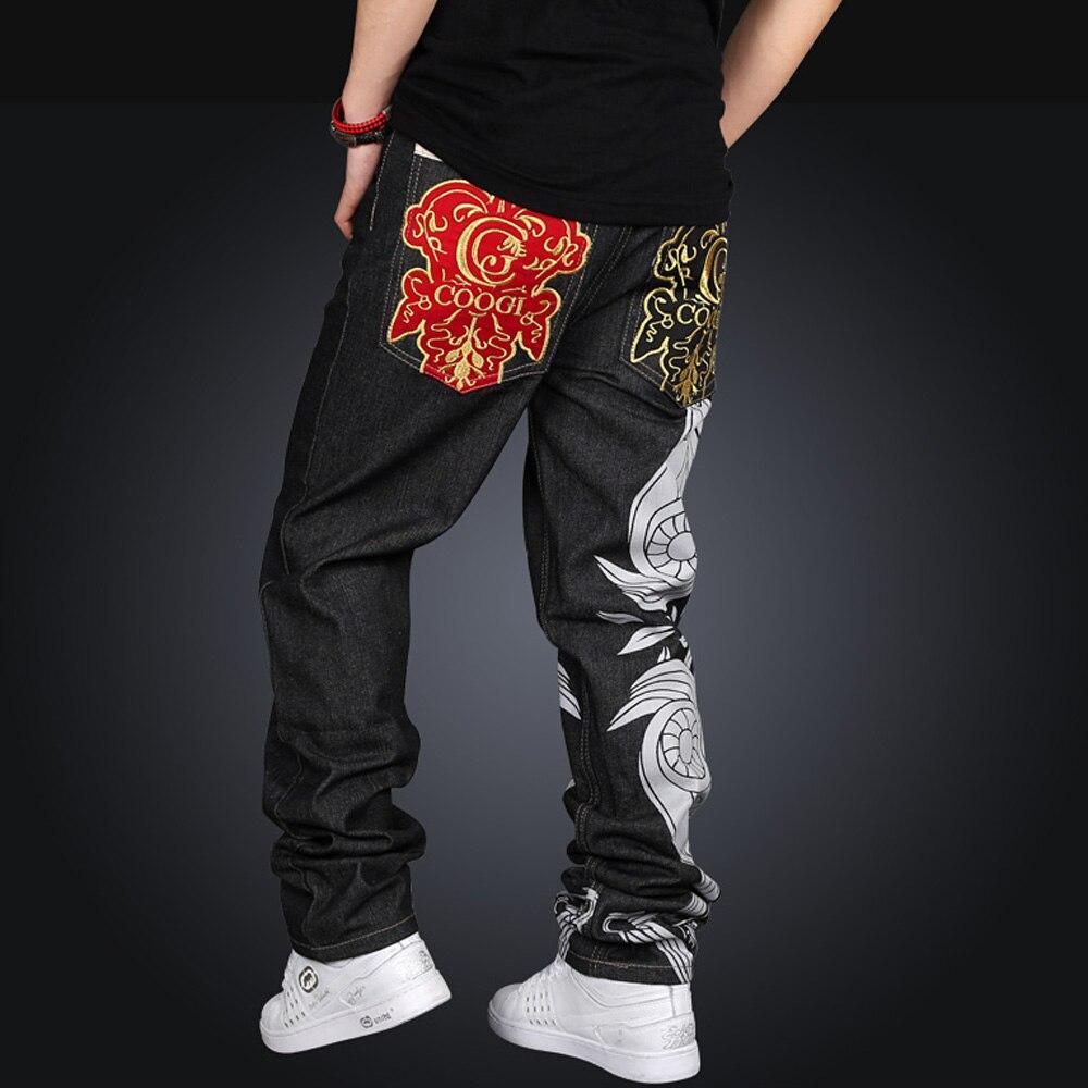 Brand Men Casual Black male Hip Hop Baggy Loose Jeans Designer Street Dance Skateboard Denim Pants Plus Size 005Одежда и ак�е��уары<br><br><br>Aliexpress