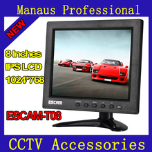 Multi-language 8inch (1024x768) TFT LCD CCTV Monitor with VGA HDMI AV BNC USB for PC CCTV Security Surveillance System ESCAM T08