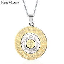 KISS MANDY IP Gold Plating 316L Stainless Steel Necklaces the Chart of constellation Turnnable Pendant KN59