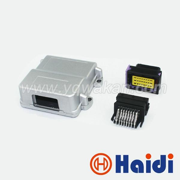 Free shipping 24pin black male female FCI ECU generator controller modified plug circuit connector with 24p Aluminum box<br>