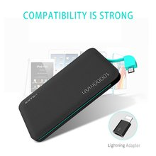 USAMS 10000mAh Pover bank Leather Grain Universal Portable Power Bank for Digital Devices USB Cable Power supply In One