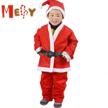 HOT SALE 5pcs set Children's Santa Claus Costume Christmas cosplay Clothes Father Christmas Suit X'mas Clothes for kids