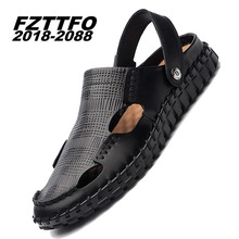 Buy Size 38-45 Men's Summer Genuine Leather FZTTFO 2018-2088 Brand Casual Shoes, Men sandals Slippers Shoes Beach flip flops K483 for $34.50 in AliExpress store
