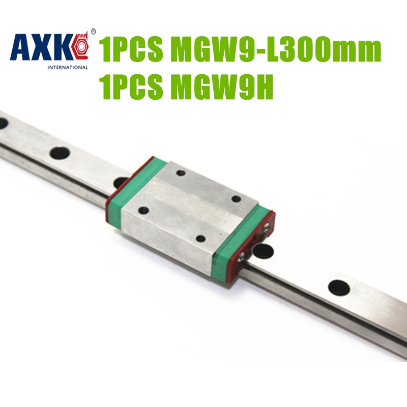 2017 New Ball Bearing Rodamientos Axk Free Shipping Cnc Parts 9mm Linear Guide Block Mgw9h /mgw9c With Length 300mm Mgw9 Rail<br>