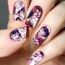 1 Sheet Flower Partten Nail Art Water Transfer Sticker Nail Art Decoration Decal Manicure Nail Tools BESTZ369(China)