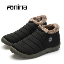 Winter Adult Solid Warming Slip-on Ankle Snow Boots Men Cotton Fabric Round Toe Flat With Comfortable Outdoor Shoes 261