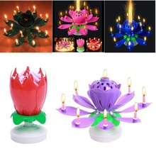 2016 New Art Musical Candle Lotus Flower Happy Birthday Party Gift Rotating Lights Decoration 8/14 Candles Lamp QB874164