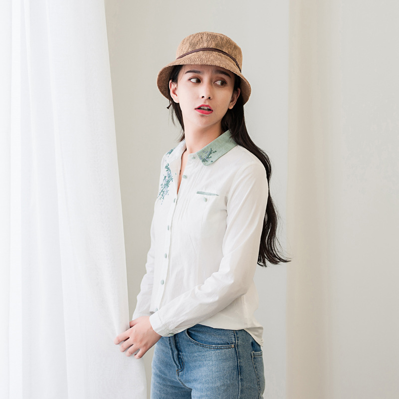 Floral Embroidery White Blouse 11