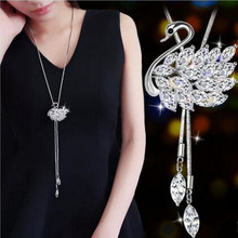 New Style Luxury Jewelry Long Silver Color Chain with Full Rhinestone Swan Pendant Necklace for Women
