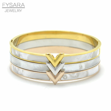 FYSARA Luxury Letter V Bangle Natural Shell Pulseira Fashion Jewelry Gold-Color Arm Cuff Bracelet For Women Bijoux Jewelry Gift(China)