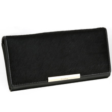 The trend of horse hair long wallet leather purse