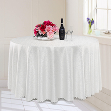 Round Tablecloth Hotel Wedding Party Banquet Dinning Table Cover Spread Jacquard Solid White Red Gray Brown Purple Burgundy(China)