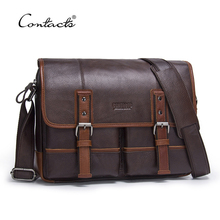 CONTACT'S Fashion Cowhide Genuine Leather Crossbody Bag For Men Shoulder Bags Business Men's Briefcase Handbags Messenger Bag(China)