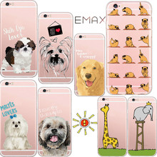 Cute Animal Phone Case for Apple iPhone 5 5s SE 6 6sPlus 7 Plus Lovely Dog Elephant Giraffe Pattern Fashion Silicone Cases Coque