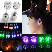 1 Pair Light Up LED earrings Studs Flashing Blinking Stainless Steel Earrings Studs Dance Party Accessories unisex for Men Women