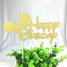 1pc Happy Birthday Cupcake Lovely Mickey Mouse Cake Topper Flags Baking Decorations For Kids Happy Birthday Party Baby Shower(China)