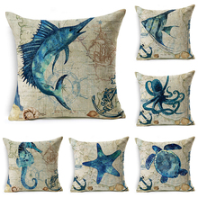 decorUhome Marine Cotton Linen Pillow Cover Ocean Octopus Turtles Cushion Cover Decorative Throw Pillow Case Sofa Home Decor