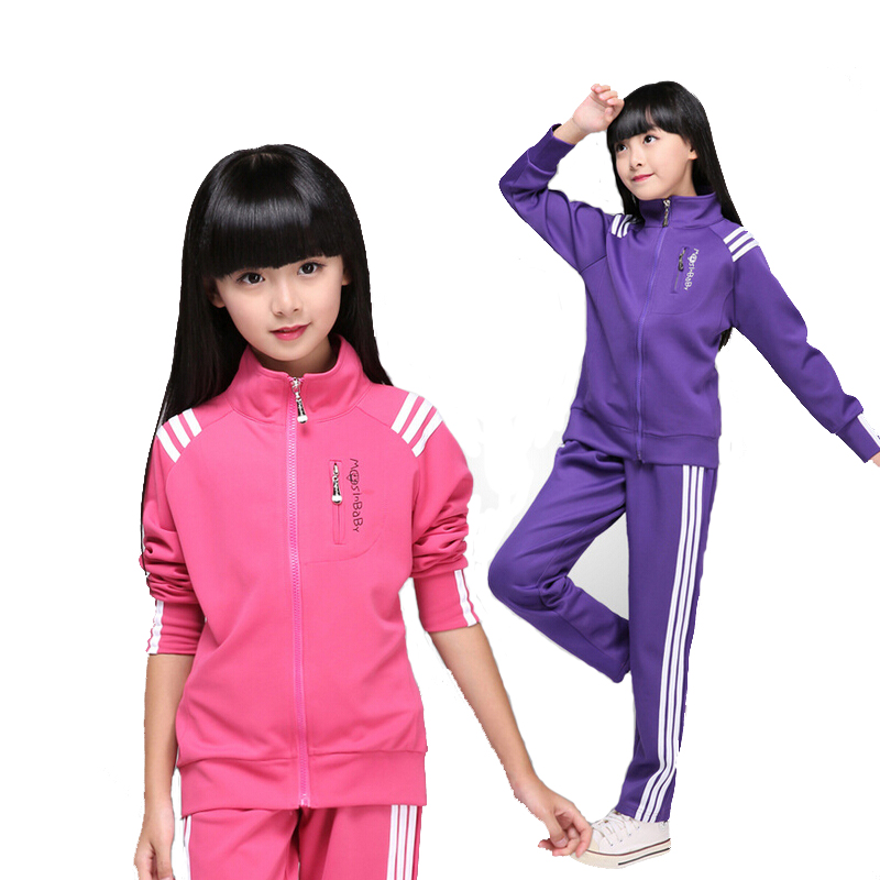 Autumn female childrens wear new 2015 cuhk childrens leisure suits tracksuit adolescent girls zipper coat two-piece outfit<br>