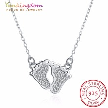 Yunkingdom Real 925 Sterling Silver Necklaces Feet Design Pendants Chains Necklace Women Chain Kids Girls Custom Jewel(China)