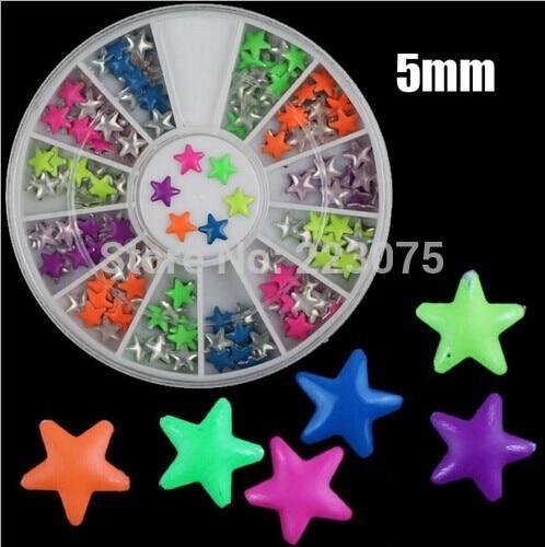 pentagram 5mm Nail Art 3D Studs Punk Style Neon Decoration Tip For Manicure Decor 3 cases/lot<br><br>Aliexpress