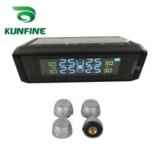 Smart Car TPMS Solar Energy Tire Pressure Monitoring System with External Sensor Digital LCD Display Auto Security Alarm Systems(China)