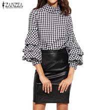 Buy ZANZEA Women 2017 Summer Blouse Shirt Vintage Casual Turtleneck Ruffles Sleeve Pullover Plaid Cotton Black Blusas Tops Plus Size for $9.15 in AliExpress store