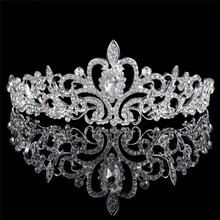 New Design Tiaras And Crowns Wedding Hair Accessories Silver Gold color Bridal Crown Wedding Tiaras For Brides Hair Ornaments(China)