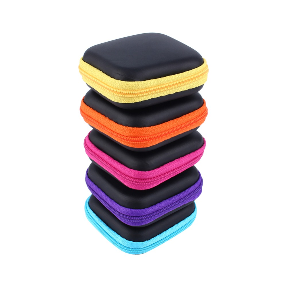 Mini Zipper Hard Headphone Case PU Leather Earphone Bag Protective Cable Organizer Portable Earbuds Storage Box Travel Organizer(Hong Kong)