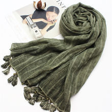 vintage summer beach stoles silk scarves for women winter shawls pashmina lady bandana with tassels sunscreen scarf(China)