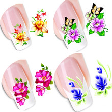 50sheets Watermark Beauty Sexy DIY Nail Art Water Transfer Stickers Flower with Butterfly Tips Decals Nail Tools SETXF1051-1100(China)