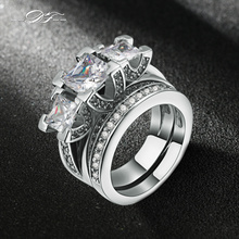 Silver Color Luxury 2 Rounds 3 Square Cubic Zirconia Bijoux Fashion Wedding Ring Set Jewelry For Women Love Gift DFR511