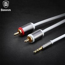 Baseus RCA Cable 2rca to 3.5 aux cable rca 3.5mm Jack male to male rca aux cable for TV DVD Home Theater amplifier Phone Edifer(China)