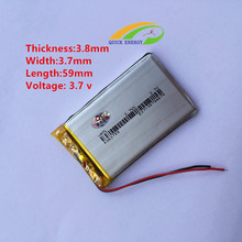 Wholesale Discount spike 3.7V rechargeable thium polymer battery 383759 Tablet PC MP4 handheld PDA battery