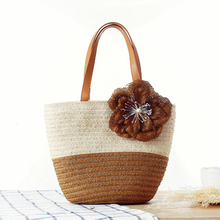 The fashion flowers woven straw beach bag panelled shoulder handbag women's hot sale messenger bag