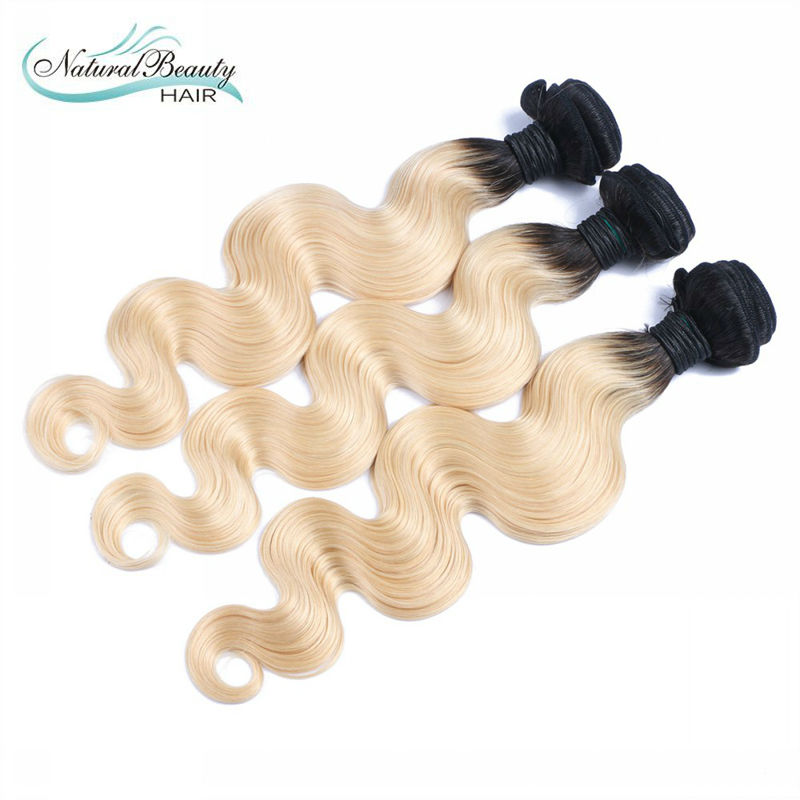 7A Brazilian Virgin Hair Body Wave 3 Bundles Ombre blond Hair Extensions drak roots 1b 613 hair thick ends free shipping<br><br>Aliexpress