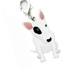 Mini Alloy pet supply cat dog pendant tags bull terrier identity ID hanging collar jewelry items bullterrier for small puppy