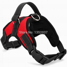 Free shipping Service dog harness for walking reflective strap pitbull vest padded pet harness to collar leash dog clothes Red(China)