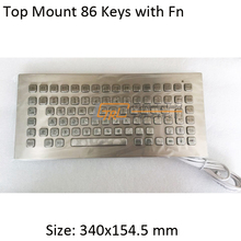 86 keys top panel mount stainless keyboard, metallic industrial keyboard, kiosk keyboard